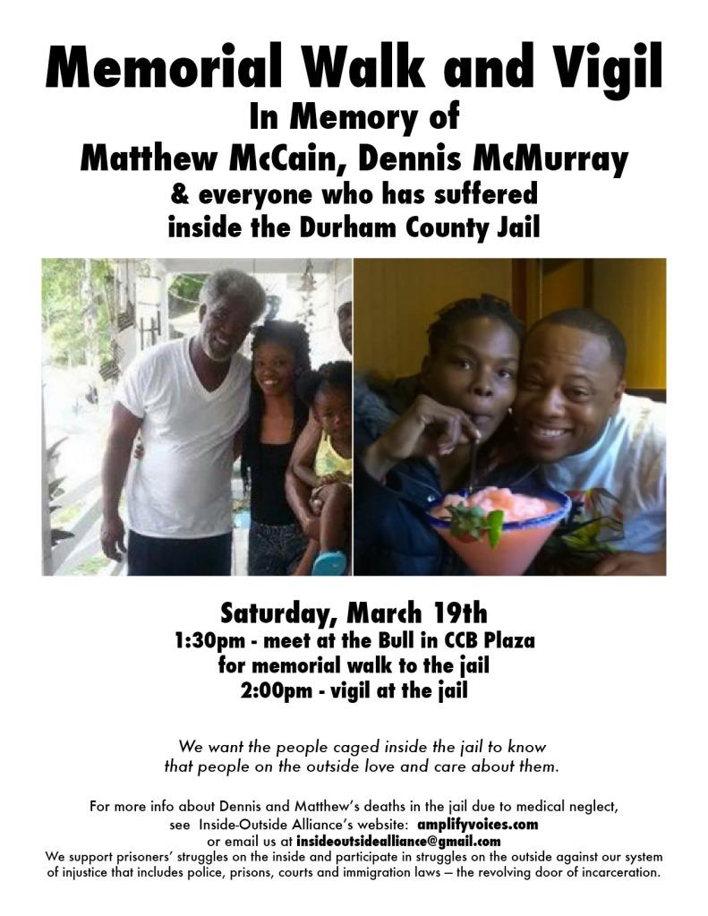 memorial walk and vigil for Matt and Dennis - flier